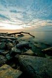 Lever de soleil du lac Michigan Images libres de droits