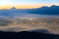 Lever de soleil du mont Fuji Photos stock