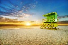 Lever de soleil du sud de plage de Miami photographie stock