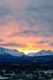 Lever de soleil en Alaska au-dessus d'Anchorage Photographie stock libre de droits