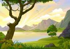 Lever de soleil en Amazone Photo stock