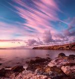 Lever de soleil en mer photographie stock