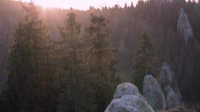 Lever de soleil en parc national au-dessus de forêt et de roches le Soleil Levant illumine admirablement les dessus des pins et clips vidéos