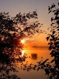 Lever de soleil encadré photo stock