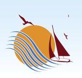 Lever de soleil et yacht Photographie stock
