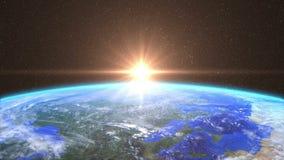 Lever de soleil fortement détaillé au-dessus de la terre illustration libre de droits