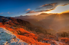 Lever de soleil frais d'hiver chez Lunhgthang, Sikkim, le Bengale-Occidental, Inde Image stock