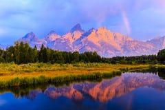 Lever de soleil grand de Teton Photos stock