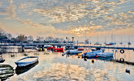 Lever de soleil HDR de marina Images stock
