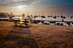 Lever de soleil IV de marina Images stock