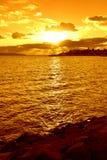 Lever de soleil jaune Image libre de droits