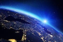 Lever de soleil de la terre de planète rendu 3d Photo stock