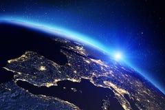 Lever de soleil de la terre de planète rendu 3d Photos stock