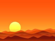 Lever de soleil lumineux de désert rouge illustration libre de droits