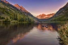 Lever de soleil marron de Bells, Aspen, le Colorado, Etats-Unis Photographie stock libre de droits