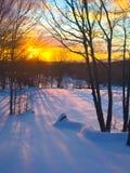 Lever de soleil de matin d'hiver dans Catskills Images libres de droits