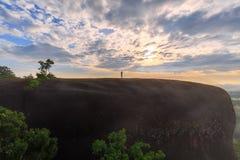 Lever de soleil de matin et brumeux de la roche d'arbre Images libres de droits