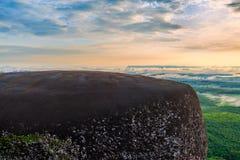 Lever de soleil de matin et brumeux de la roche d'arbre Photos stock