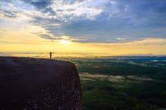 Lever de soleil de matin et brumeux de la roche d'arbre Photos libres de droits