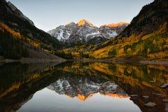 Lever de soleil maximal Aspen Fall Colorado de cloches marron Images libres de droits