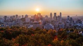 Lever de soleil de Montréal de Mont Royal photo stock