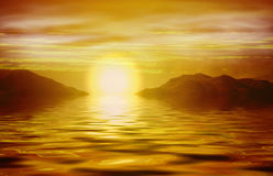 Lever de soleil orange au-dessus d'océan image stock