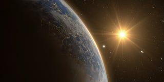 Lever de soleil orange au-dessus de la terre illustration de vecteur