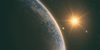 Lever de soleil orange au-dessus de la terre illustration stock