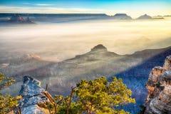 Lever de soleil par le brouillard dans Grand Canyon, Arizona Photographie stock libre de droits