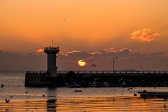 Lever de soleil, phare, aube Photo stock