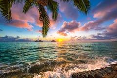 Lever de soleil de plage de Lanikai images stock