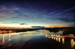 Lever de soleil, pont de Mengkabong Photos libres de droits