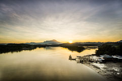 Lever de soleil près du mont Kinabalu Images libres de droits