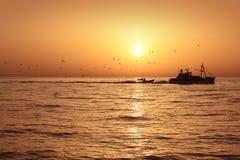 Lever de soleil professionnel de loquet de sardine de bâteau de pêche photo stock