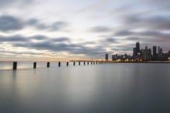 Lever de soleil rêveur par le lac Michigan, Chicago l'Illinois Photographie stock