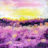 Lever de soleil de ressort au-dessus de la ville fleuve de peinture à l'huile d'horizontal de forêt illustration libre de droits