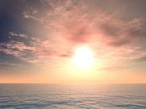 Lever de soleil romain au-dessus de mer Images stock