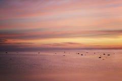 Lever de soleil rose au-dessus de la mer Image stock