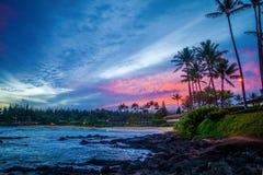 Lever de soleil rose, baie de napili, Maui, Hawaï Image stock