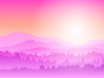 Lever de soleil rose de montagne Photographie stock