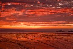 Lever de soleil rouge Images libres de droits