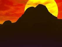 Lever de soleil rouge de désert Photographie stock