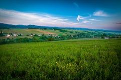 Lever de soleil sur des collines de Beaujolais, le Rhône, France Photographie stock