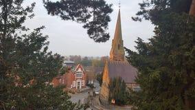 Lever de soleil sur l'église Oswestry du Christ Photo libre de droits