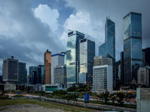 Lever de soleil sur l'horizon de Hong Kong central Photographie stock
