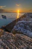 Lever de soleil sur la côte de Conero, Marche, Italie Photos libres de droits