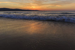 Lever de soleil sur la côte de Sunny Beach en Bulgarie Photo libre de droits