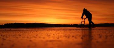 Lever de soleil sur la glace Photographie stock