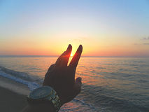 Lever de soleil sur la mer Photo stock