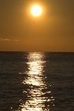 Lever de soleil sur la Mer Noire avec la silhouette de mouette Photographie stock